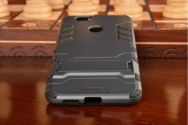 Противоударный усиленный ударопрочный фирменный чехол-бампер-пенал для Huawei Nova черный
