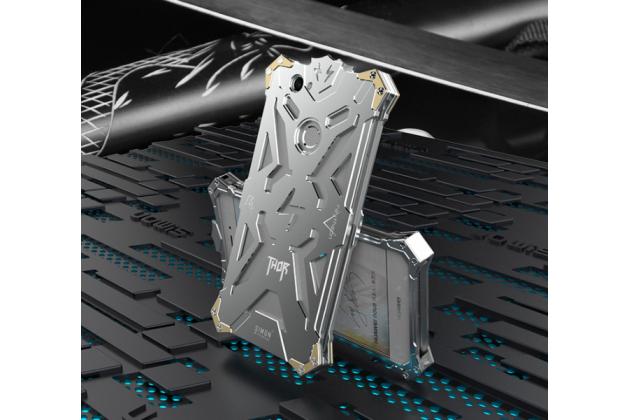 Противоударный металлический чехол-бампер из цельного куска металла с усиленной защитой углов и необычным экстремальным дизайном  для Huawei Nova серебристого цвета