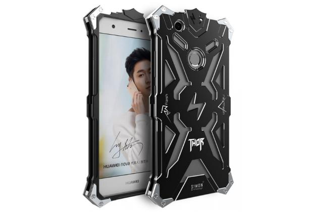 Противоударный металлический чехол-бампер из цельного куска металла с усиленной защитой углов и необычным экстремальным дизайном  для Huawei Nova черного цвета
