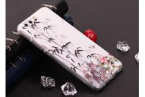 Фирменная уникальная задняя панель-крышка-накладка из тончайшего силикона для Huawei P10 с объёмным 3D рисунком тематика Цветок Бамбук