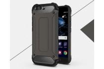 Противоударный усиленный ударопрочный фирменный чехол-бампер-пенал для Huawei P10 черный