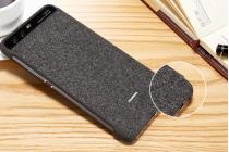 Фирменный оригинальный подлинный чехол с боковым окном с логотипом для Huawei P10 Smart Wake черный с рисунком текстиль