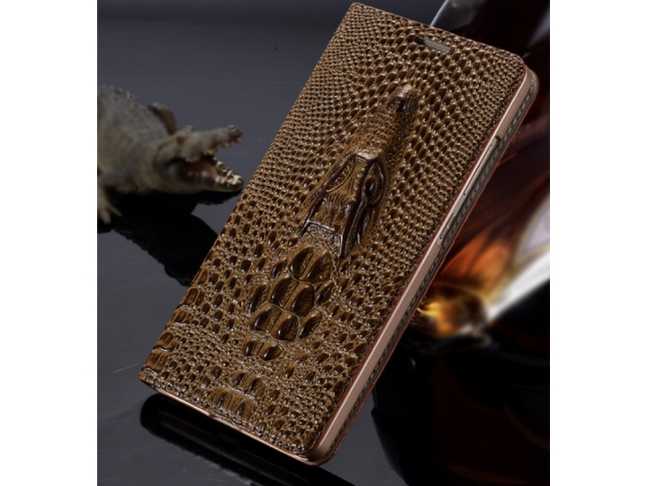 Фирменный роскошный эксклюзивный чехол с объёмным 3D изображением кожи крокодила коричневый для Huawei P8 Lite..