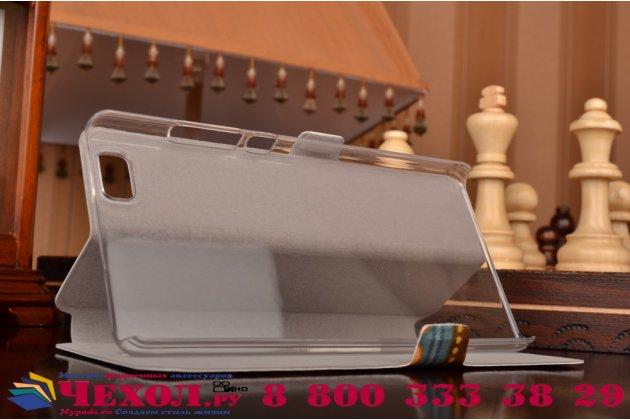"""Фирменный уникальный необычный чехол-книжка для  Huawei P8 Lite 5.0"""" """"тематика Эклектические Узоры"""""""