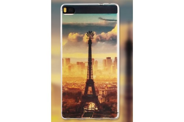 Фирменная роскошная задняя панель-чехол-накладка из мягкого силикона с объемным  3D изображением  на Huawei P8 Lite (ALE-TL00) 5.0 c с безумно красивым рисунком тематика Париж