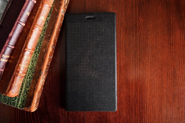 """Фирменный оригинальный официальный умный чехол Dot View flip case для Huawei P8 Max 6.8"""" черный"""