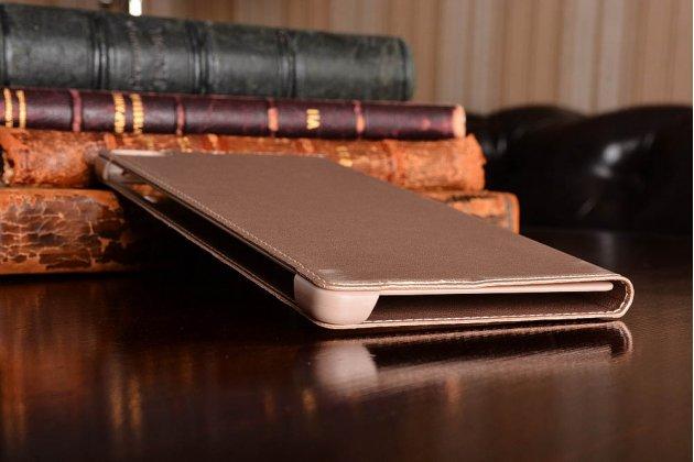Фирменный оригинальный водоотталкивающий чехол-книжка  подставкой и окном и свайпом  для входящих вызовов  для Huawei P8 max золотой