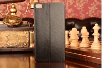 """Фирменный чехол-книжка  для Huawei P8 Max 6.8"""" из качественной водоотталкивающей импортной кожи на жёсткой металлической основе черного цвета"""