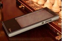 Фирменный оригинальный чехол-книжка из кожи с подставкой и окном для входящих вызовов  для Huawei P8 max черный