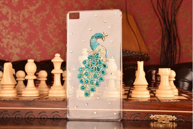 Фирменная из тонкого и лёгкого пластика со стразами и камнями задняя панель-чехол-накладка для Huawei P8 max прозрачная с синей Жар-Птицей