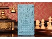 Фирменный роскошный эксклюзивный чехол с объёмным 3D изображением рельефа кожи крокодила синий для Huawei P8 m..
