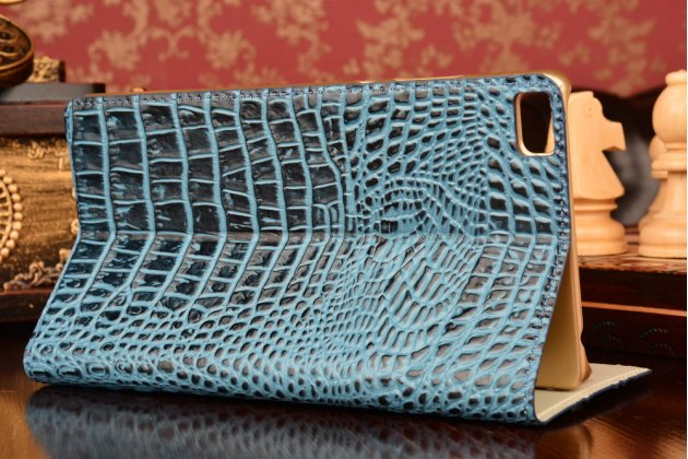 Фирменный роскошный эксклюзивный чехол с объёмным 3D изображением рельефа кожи крокодила синий для Huawei P8 max. Только в нашем магазине. Количество ограничено
