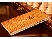 Фирменный роскошный эксклюзивный чехол с объёмным 3D изображением кожи крокодила коричневый для Huawei P8 Max ..