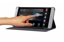 """Чехол с мультяшной 2D графикой и функцией засыпания для Huawei P8 Max 6.8""""  в точечку с дырочками прорезиненный с перфорацией золотой"""