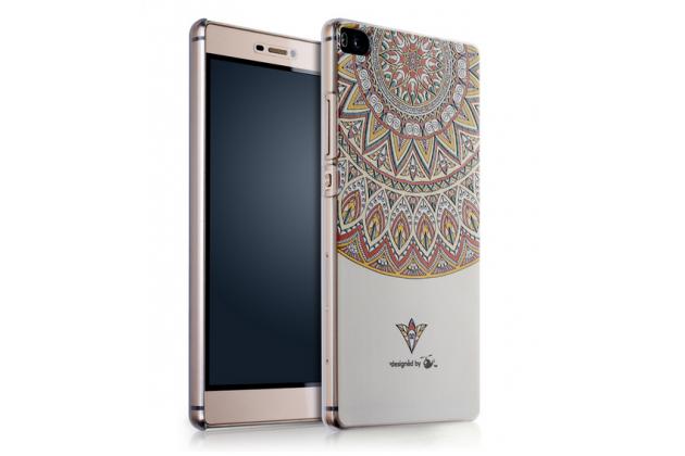 """Фирменная роскошная задняя панель-чехол-накладка из металла с объемным 3D изображением на Huawei P8 max с безумно красивым рисунком """"Тематика Эклектические узоры"""""""