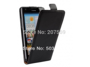Фирменный оригинальный вертикальный откидной чехол-флип для Huawei P8 max черный кожаный..