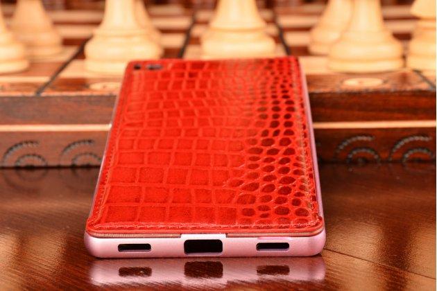 """Фирменная роскошная элитная ультра-тонкая алюминиевая задняя панель-крышка бампер для Huawei P8 5.2""""  лаковая кожа крокодила алый огненный красный"""