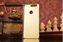 """Фирменная металлическая задняя панель-крышка-накладка из тончайшего облегченного авиационного алюминия с логотипом украшенная стразами кристалликами и декорированная элементами для Huawei Honor 8 (FRD-AL00) 5.2""""   золотая"""