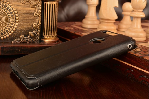 """Фирменный чехол-книжка для Huawei Honor 8 (FRD-AL00) 5.2"""" из качественной импортной кожи черный с окошком для входящих вызовов и свайпом"""