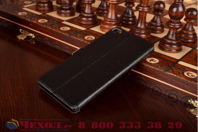 """Фирменный чехол-книжка для Huawei P8 5.2"""" черный с окошком для входящих вызовов и свайпом водоотталкивающий"""