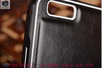 Фирменная роскошная элитная премиальная задняя панель-крышка на металлической основе обтянутая импортной кожей для Huawei P8 королевский черный
