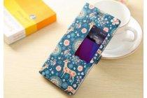 """Фирменный чехол-книжка с безумно красивым расписным рисунком Оленя в цветах на Huawei P8 5.2""""  с окошком для звонков"""