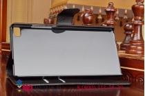 Фирменный чехол-книжка из качественной импортной кожи с подставкой застёжкой и визитницей для Huawei P8 черный