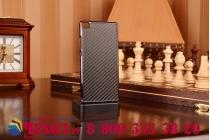 """Элитная задняя панель-крышка из тончайшего и прочного пластика для Huawei P8 с матовой отделкой """"под карбон"""" черная"""