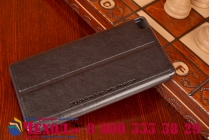 Фирменный оригинальный чехол-книжка для Huawei P8 черный кожаный с окошком для входящих вызовов