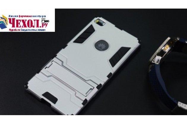"""Противоударный усиленный ударопрочный фирменный чехол-бампер на металлической основе для Huawei P8 5.2"""" черного цвета"""