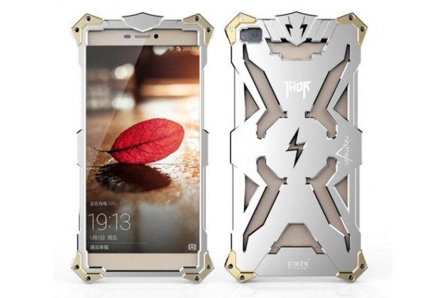 """Противоударный металлический чехол-бампер из цельного куска металла с усиленной защитой углов и необычным экстремальным дизайном  для Huawei P8 5.2"""" серебряного цвета"""