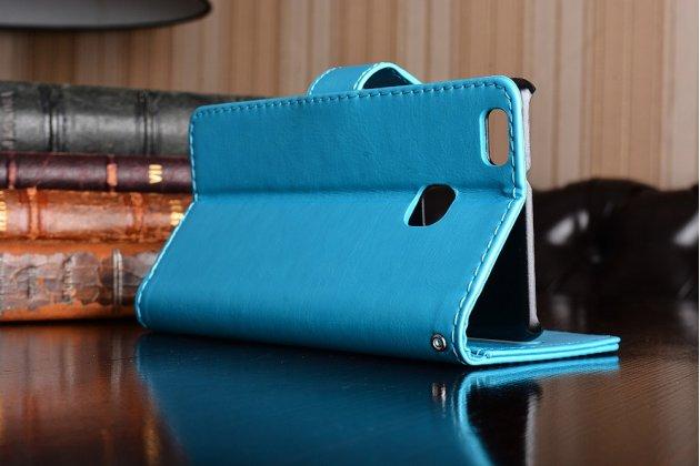 """Фирменный чехол-книжка из качественной импортной кожи с подставкой застёжкой и визитницей для Huawei P9 Lite / G9 / Dual Sim LTE (VNS-L21 / VNS-TL00/DL00) 5.2"""" голубой"""