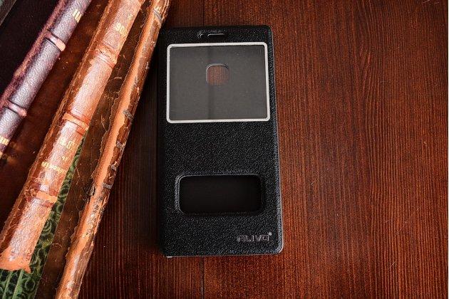 """Фирменный чехол-книжка для Huawei P9 Lite / G9 / Dual Sim LTE (VNS-L21 / VNS-TL00/DL00) 5.2"""" черный с окошком для входящих вызовов и свайпом водоотталкивающий"""