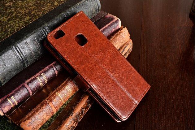 """Фирменный чехол-книжка из качественной импортной кожи с подставкой застёжкой и визитницей для Huawei P9 Lite / G9 / Dual Sim LTE (VNS-L21 / VNS-TL00/DL00) 5.2"""" коричневый"""