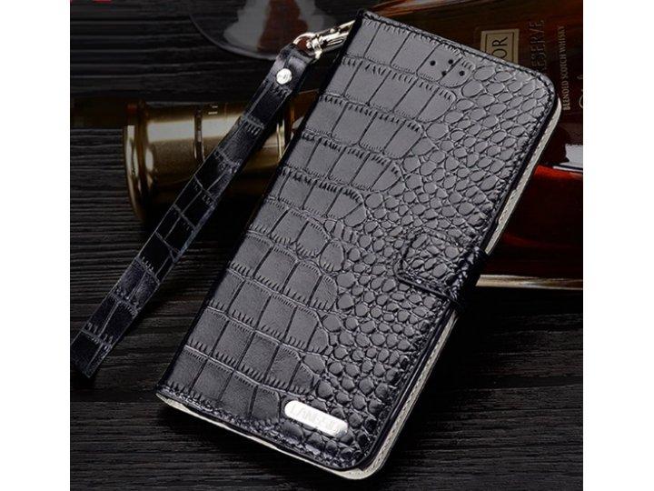 Фирменный роскошный эксклюзивный чехол с фактурной прошивкой рельефа кожи крокодила и визитницей черный для Hu..
