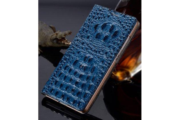 """Фирменный роскошный эксклюзивный чехол с объёмным 3D изображением рельефа кожи крокодила синий для Huawei P9 Lite / G9 / Dual Sim LTE (VNS-L21 / VNS-TL00/DL00) 5.2"""". Только в нашем магазине. Количество ограничено"""