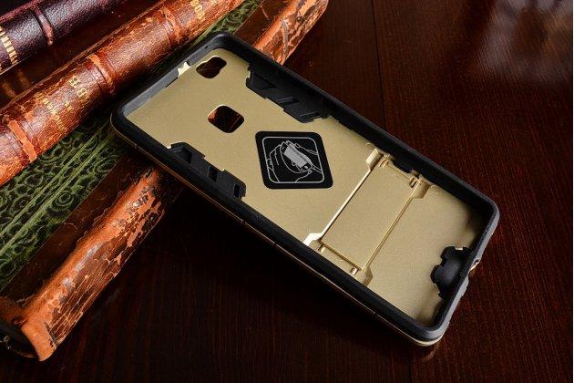 """Противоударный усиленный ударопрочный фирменный чехол-бампер-пенал для Huawei P9 Lite / G9 / Dual Sim LTE (VNS-L21 / VNS-TL00/DL00) 5.2"""" золотой"""