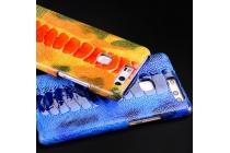 """Фирменная роскошная эксклюзивная накладка из натуральной КОЖИ С НОГИ СТРАУСА оранжевая  для Huawei P9 Lite / G9 / Dual Sim LTE (VNS-L21 / VNS-TL00/DL00) 5.2"""". Только в нашем магазине. Количество ограничено"""