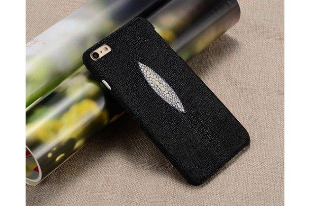 """Фирменная роскошная эксклюзивная накладка  из натуральной рыбьей кожи СКАТА (с жемчужным блеском) черный для Huawei P9 Lite / G9 / Dual Sim LTE (VNS-L21 / VNS-TL00/DL00) 5.2"""" Только в нашем магазине. Количество ограничено"""