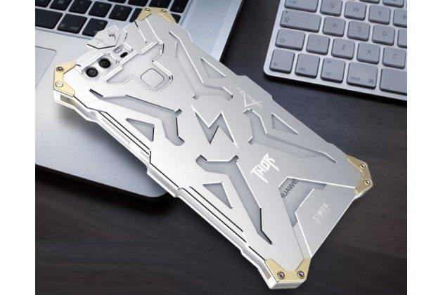 """Противоударный металлический чехол-бампер из цельного куска металла с усиленной защитой углов и необычным экстремальным дизайном  длям  Huawei P9 Lite / G9 / Dual Sim LTE (VNS-L21 / VNS-TL00/DL00) 5.2"""" серебристого цвета"""