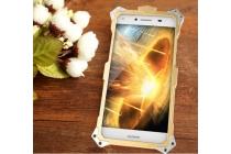 """Противоударный металлический чехол-бампер из цельного куска металла с усиленной защитой углов и необычным экстремальным дизайном  длям  Huawei P9 Lite / G9 / Dual Sim LTE (VNS-L21 / VNS-TL00/DL00) 5.2"""" золотого цвета"""