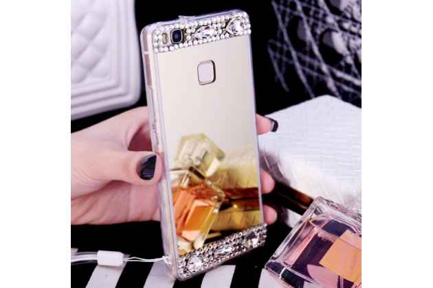 """Фирменная ультра-тонкая полимерная из мягкого качественного силикона задняя панель-чехол-накладка украшенная стразами и кристалликами для Huawei P9 Lite / G9 / Dual Sim LTE (VNS-L21 / VNS-TL00/DL00) 5.2"""" золотая"""