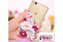 """Фирменная задняя панель-чехол-накладка из прозрачного 3D силикона с объёмным рисунком для Huawei P9 Lite / G9 / Dual Sim LTE (VNS-L21 / VNS-TL00/DL00) 5.2""""  """"тематика Цветы"""" которая огибает логотип чтобы была видна марка телефона"""