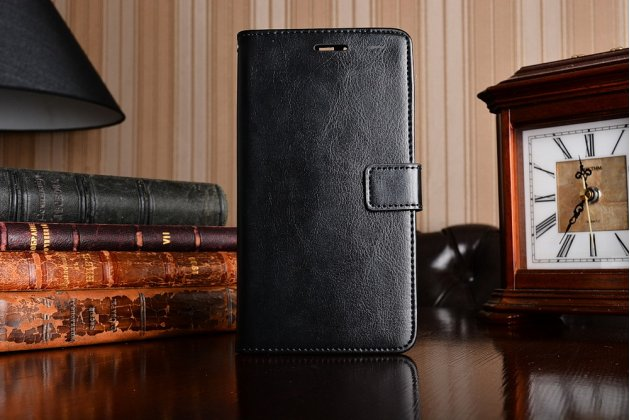 """Фирменный чехол-книжка из качественной импортной кожи с подставкой застёжкой и визитницей для Huawei P9 + Plus (VIE-AL10 ) 5.5"""" черный"""