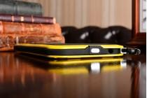 """Неубиваемый водостойкий противоударный водонепроницаемый грязестойкий влагозащитный ударопрочный фирменный чехол-бампер для Huawei P9 + Plus (VIE-AL10 ) 5.5""""  цельно-металлический со стеклом Gorilla Glass желтый"""