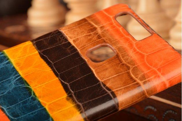 """Фирменная неповторимая экзотическая панель-крышка обтянутая кожей крокодила с фактурным тиснением для Huawei P9 + Plus (VIE-AL10 ) 5.5""""  тематика """"Африканский Коктейль"""". Только в нашем магазине. Количество ограничено."""
