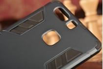 """Противоударный усиленный ударопрочный фирменный чехол-бампер-пенал для  Huawei P9 + Plus (VIE-AL10 ) 5.5""""  черный"""