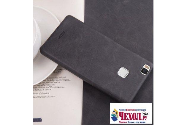 """Фирменная премиальная элитная крышка-накладка из тончайшего прочного пластика и качественной импортной кожи  для Huawei P9 + Plus (VIE-AL10 ) 5.5""""  """"Ретро под старину"""" черная"""