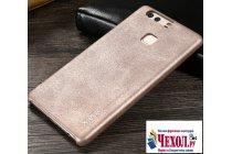 """Фирменная премиальная элитная крышка-накладка из тончайшего прочного пластика и качественной импортной кожи  для Huawei P9 + Plus (VIE-AL10 ) 5.5""""  """"Ретро под старину"""" серая"""