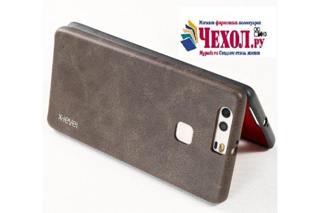 """Фирменная премиальная элитная крышка-накладка из тончайшего прочного пластика и качественной импортной кожи  для Huawei P9 + Plus (VIE-AL10 ) 5.5""""  """"Ретро под старину"""" коричневая"""